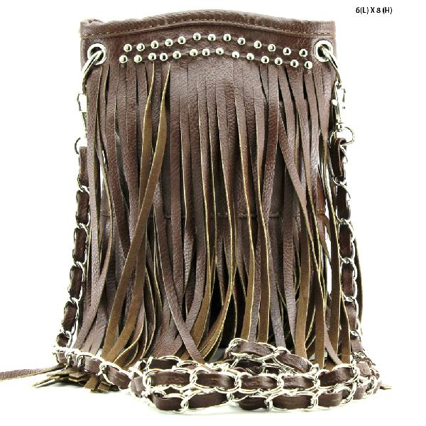 2030-FF--BROWN - WHOLESALE RHINESTONE FRINGE CELLPHONE CASES/POUCHES