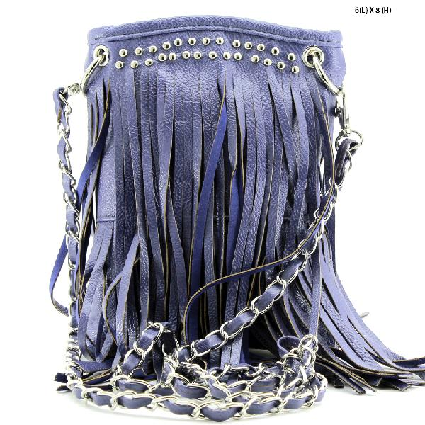 2030-FF--PURPLE - WHOLESALE RHINESTONE FRINGE CELLPHONE CASES/POUCHES