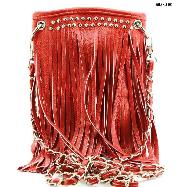 2030-FF--RED - WHOLESALE RHINESTONE FRINGE CELLPHONE CASES/POUCHES