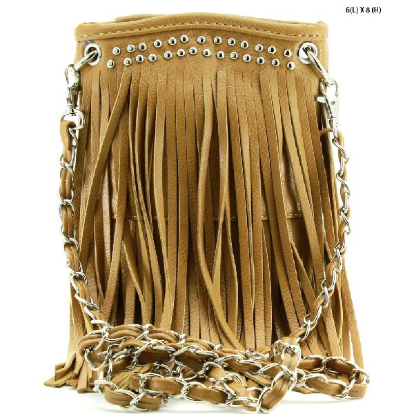 2030-FF--TAN - WHOLESALE RHINESTONE FRINGE CELLPHONE CASES/POUCHES