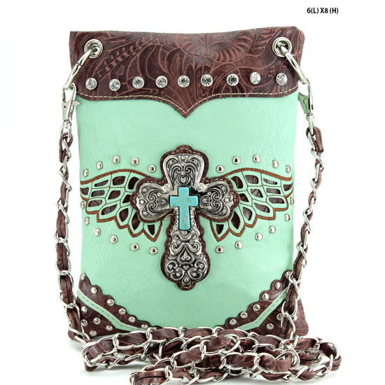 52LCR-2030-MINT - WHOLESALE RHINESTONE CRYSTAL CELLPHONE CASES/POUCHES