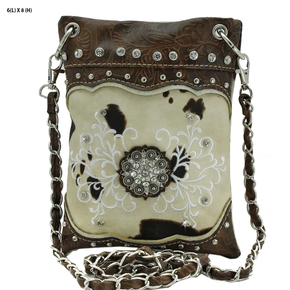 CowPrint Small Hipster Bag - 2030-COW-LCR-52- iPhone Bag Hipster Small Messenger Style Bag