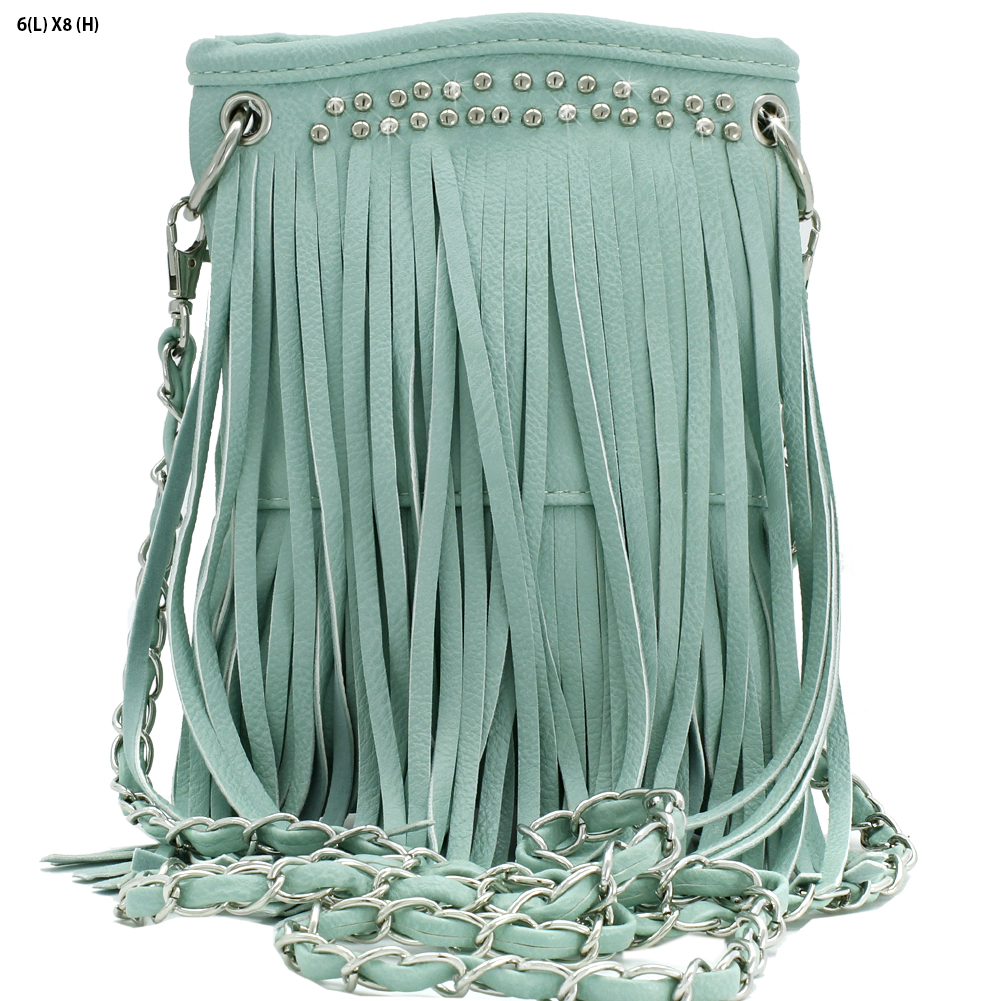 2030-FF--MINT - WHOLESALE RHINESTONE FRINGE CELLPHONE CASES/POUCHES