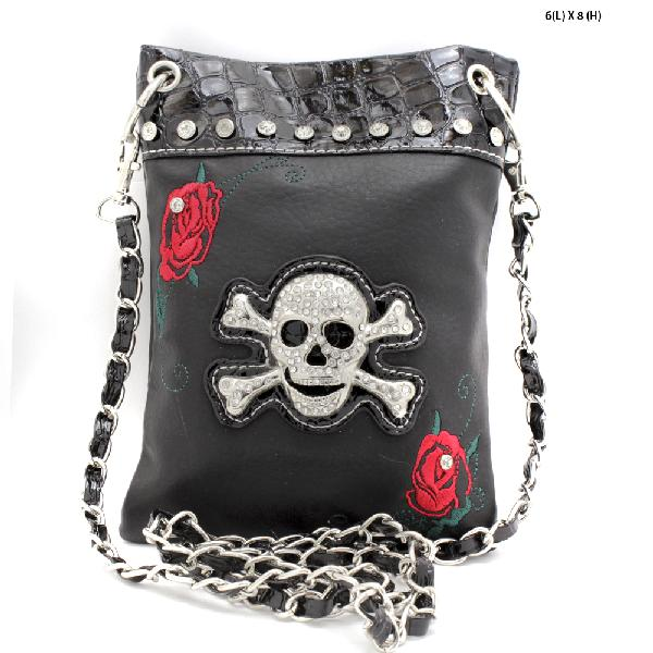 SKULL-FLWR-2030-BLACK - WHOLESALE RHINESTONE CRYSTAL CELLPHONE CASES/POUCHES