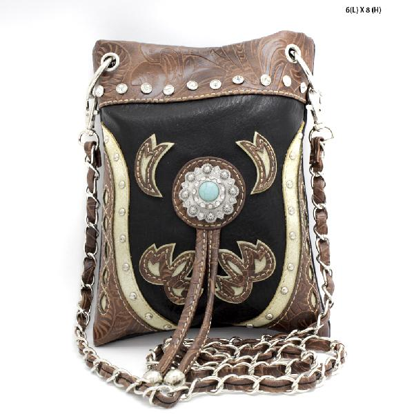2030-W45-BLACK/BEIGE - WHOLESALE RHINESTONE CRYSTAL CELLPHONE CASES/POUCHES