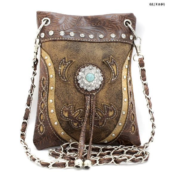2030-W45-BROWN/TAN - WHOLESALE RHINESTONE CRYSTAL CELLPHONE CASES/POUCHES