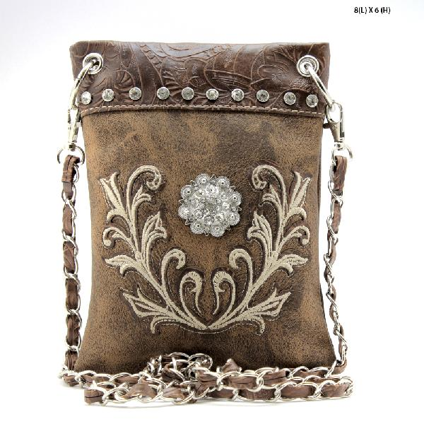 2030-W73-BROWN - WHOLESALE RHINESTONE CRYSTAL CELLPHONE CASES/POUCHES
