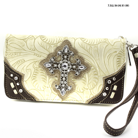 2070-W34-LCR-BEIGE - WHOLESALE WOMENS WESTERN RHINESTONE CROSS WALLET