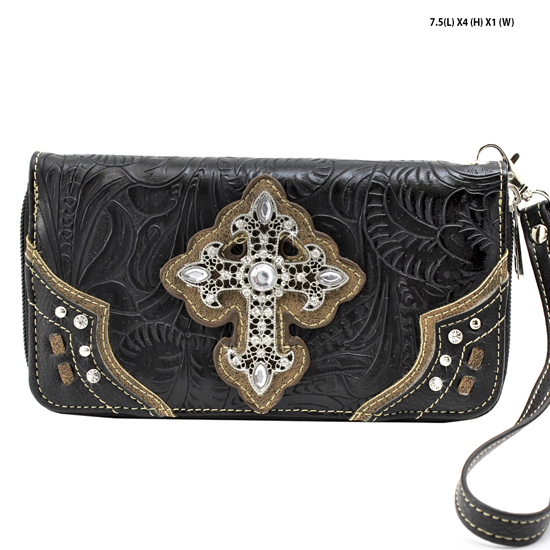 2070-W34-LCR-BLACK - WHOLESALE WOMENS WESTERN RHINESTONE CROSS WALLET