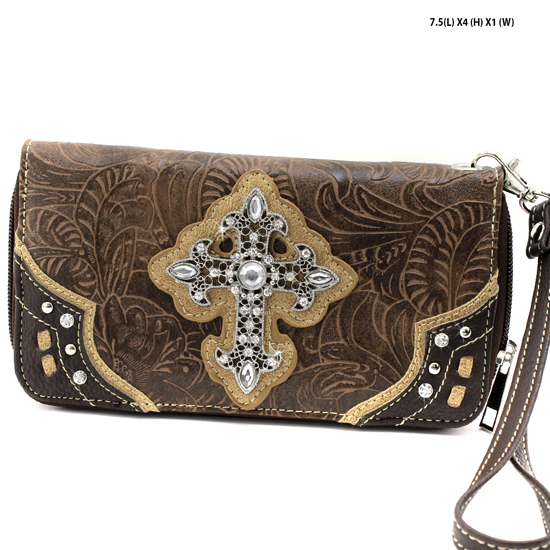 2070-W34-LCR-BROWN - WHOLESALE WOMENS WESTERN RHINESTONE CROSS WALLET