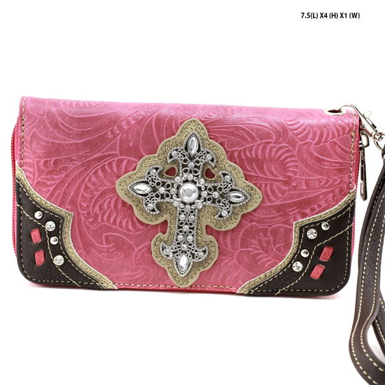 2070-W34-LCR-HTPK - WHOLESALE WOMENS WESTERN RHINESTONE CROSS WALLET