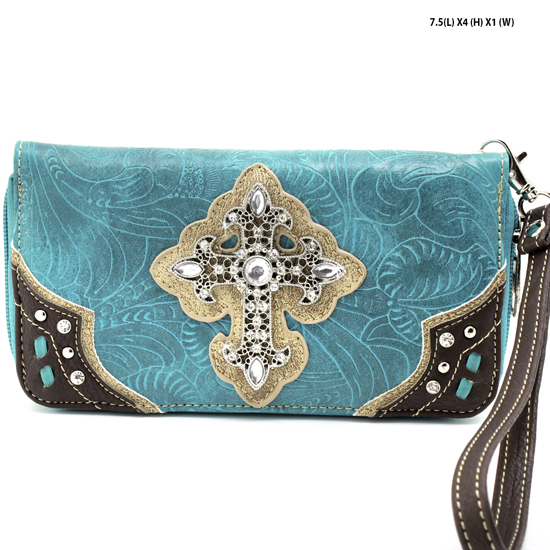 2070-W34-LCR-TURQ - WHOLESALE WOMENS WESTERN RHINESTONE CROSS WALLET