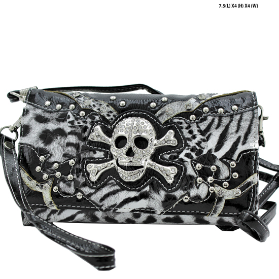 W2066-SKW20LT-BLACK - WHOLESALE WESTERN WALLETS HIPSTER CROSS BODY STYLE
