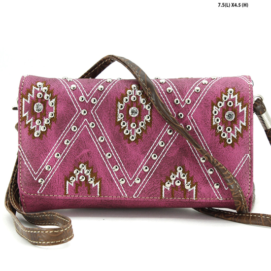 2066-SW-PUR - 2066-SW-PUR WHOLESALE WESTERN WALLETS HIPSTER CROSS BODY STYLE