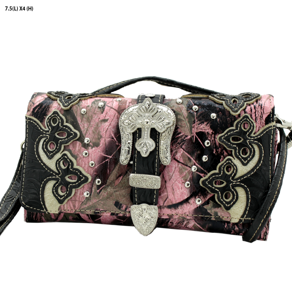 BHW-BKLE-2066-W28-KW-PK-BLACK - BHW-BKLE-2066-W28-KW-PK-BLACK WHOLESALE WESTERN WALLETS HIPSTER CROSS BODY STYLE