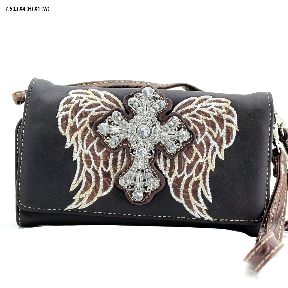 7eca19896995 Cross   Wings Hipster Wallet - 2066-W61-D.BRO WHOLESALE WESTERN CROSS
