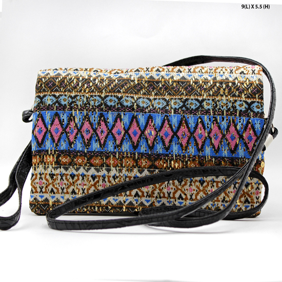 2068-314-BLUE/BLK - WHOLESALE AZTEC PRINT CROSS BODY HIPSTER MESSENGER STYLE PURSE