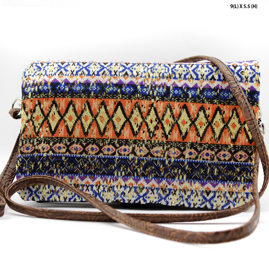 2068-314-D-BLUE/BROWN - WHOLESALE AZTEC PRINT CROSS BODY HIPSTER MESSENGER STYLE PURSE
