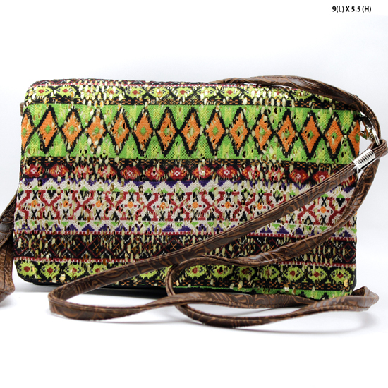 2068-314-GRN/BROWN - WHOLESALE AZTEC PRINT CROSS BODY HIPSTER MESSENGER STYLE PURSE