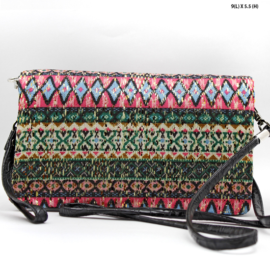 2068-314-HTPK/BLK - WHOLESALE AZTEC PRINT CROSS BODY HIPSTER MESSENGER STYLE PURSE