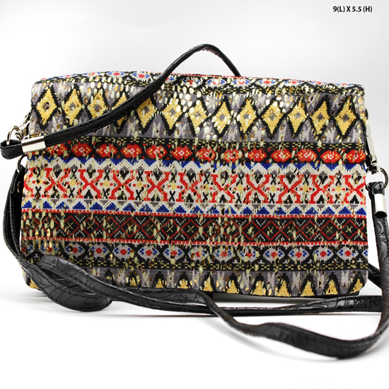 2068-314-PUR/BLK - WHOLESALE AZTEC PRINT CROSS BODY HIPSTER MESSENGER STYLE PURSE