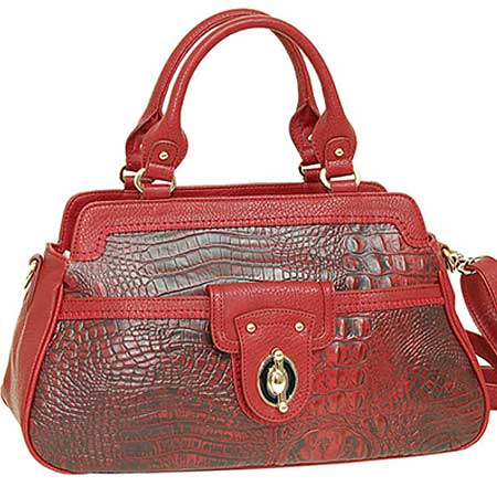 2222--RED - WHOLESALE ALL GENUINE DESIGNER LEATHER HANDBAGS