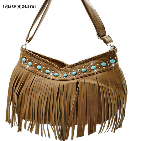 CS23-B285-TAN - WHOLESALE TURQUOISE FRINGE HANDBAGS
