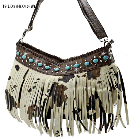 23-COW-BROWN - WHOLESALE TURQUOISE FRINGE HANDBAGS