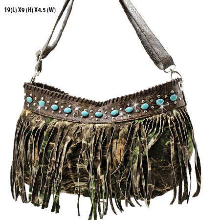 23-MLF-BROWN - WHOLESALE TURQUOISE FRINGE HANDBAGS