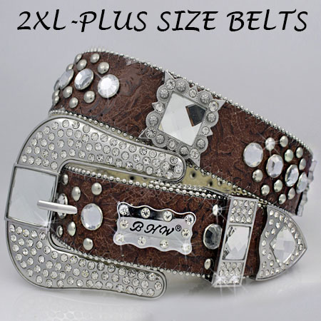 XXL-1050-BROWN - WHOLESALE RHINESTONE PLUS SIZE BELTS