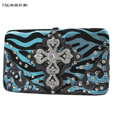 305-W10NFZLCR-BLUE - WHOLESALE HARD FRAME CROSS WESTERN WALLETS