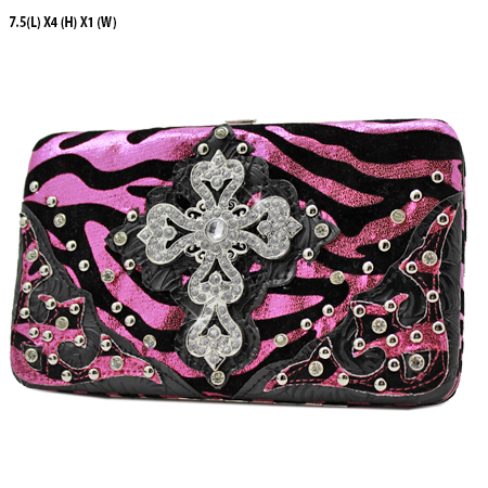 305-W10NFZLCR-HTPK - WHOLESALE HARD FRAME CROSS WESTERN WALLETS