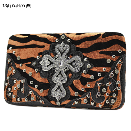 305-W10NFZLCR-ORANGE - WHOLESALE HARD FRAME CROSS WESTERN WALLETS