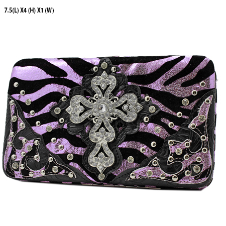 305-W10NFZLCR-PINK - WHOLESALE HARD FRAME CROSS WESTERN WALLETS