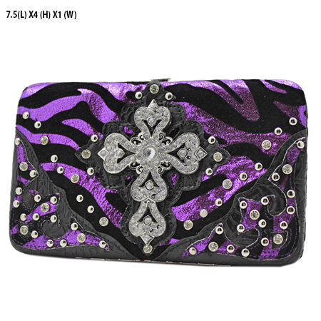 305-W10NFZLCR-PURPLE - WHOLESALE HARD FRAME CROSS WESTERN WALLETS