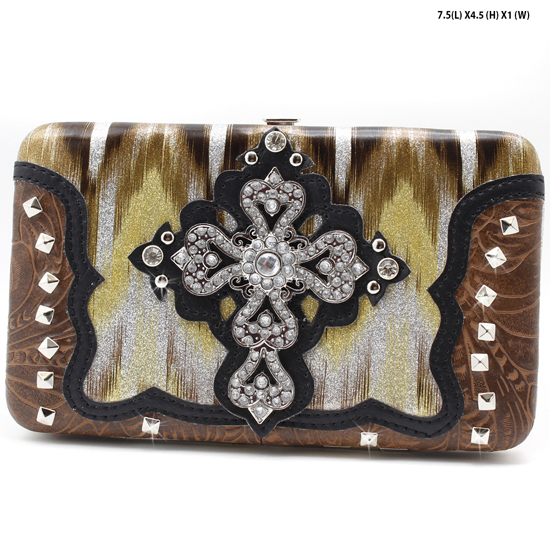 CROSS-305-W2G064-BRO/BRO - WESTERN RHINESTONE CROSS WALLETS