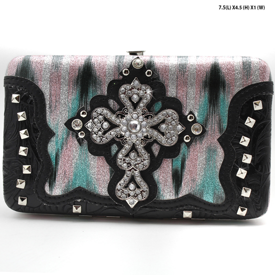 CROSS-305-W2G064-GRN/BLK - WESTERN RHINESTONE CROSS WALLETS