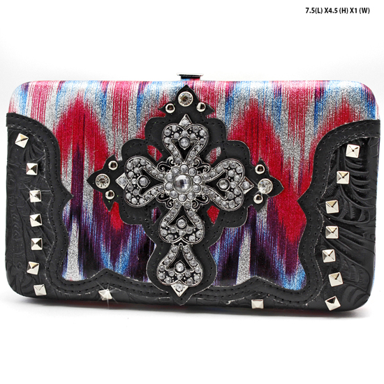 CROSS-305-W2G064-HTPK/BLK - WESTERN RHINESTONE CROSS WALLETS