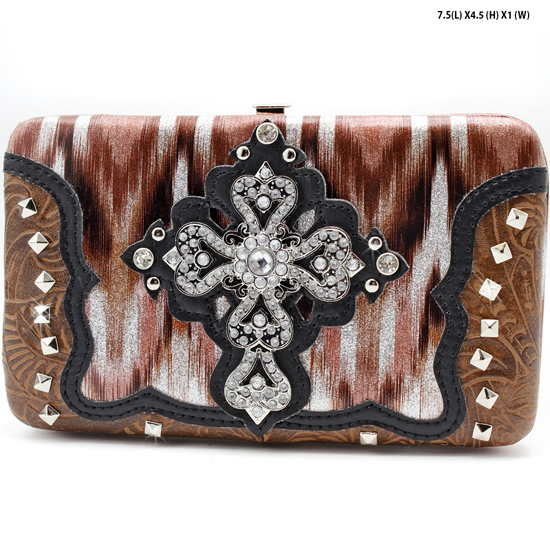 CROSS-305-W2G064-PK/BRO - WESTERN RHINESTONE CROSS WALLETS