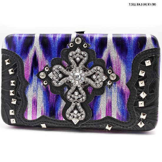 CROSS-305-W2G064-PUR/BLK - WESTERN RHINESTONE CROSS WALLETS