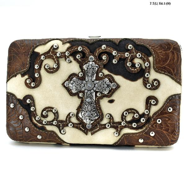 COW-305-W7-BROWN - RHINESTONE STUDDED CROSS COW PRINT WALLETS
