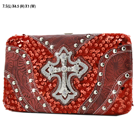CROSS-305-8104-RED - WHOLESALE HARD FRAME CROSS WESTERN WALLETS