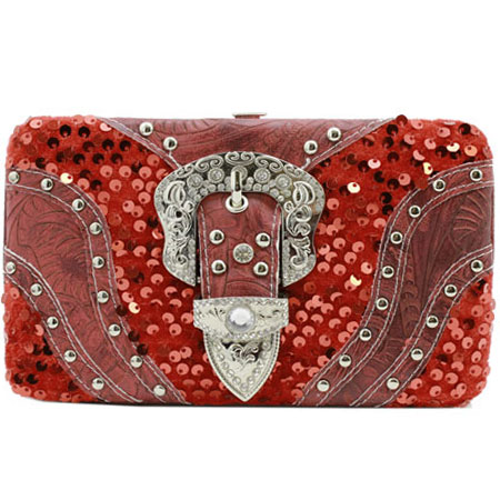 305-W9K-8104-RED - WHOLESALE FLAT WALLETS/OPERA STYLE METAL FRAME