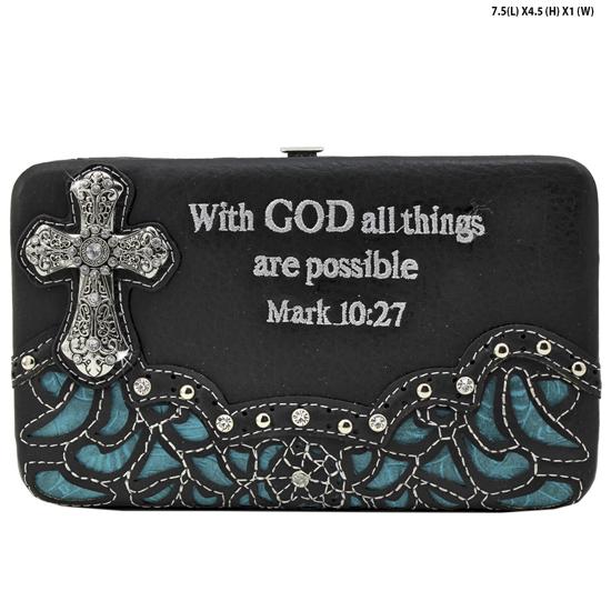 305-14-LCR-ALL-BLK-TURQ - WHOLESALE BIBLE VERSE WALLETS WOMENS FLAT FRAME WALLETS