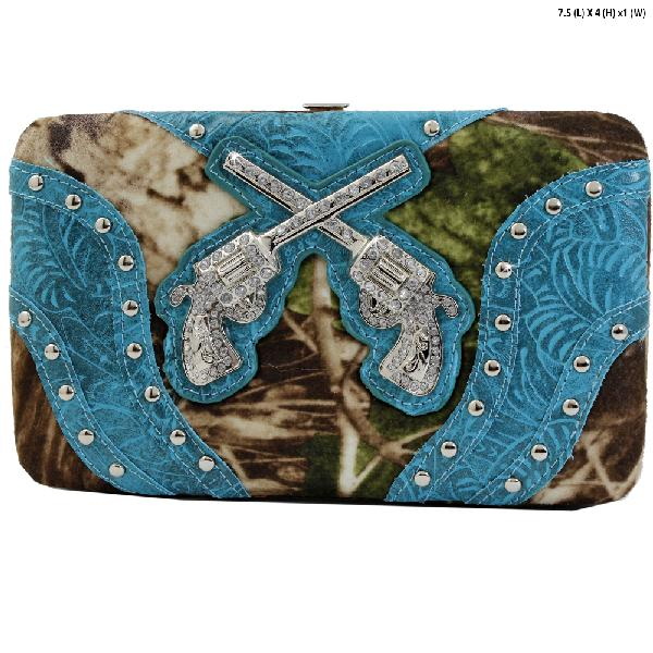 GNS-P305-BLUE - WESTERN RHINESTONE CROSS WALLETS
