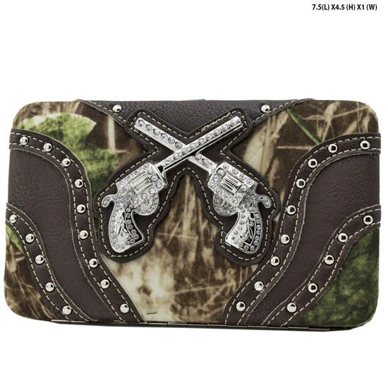 GNS-P305-BROWN - WESTERN RHINESTONE CROSS WALLETS