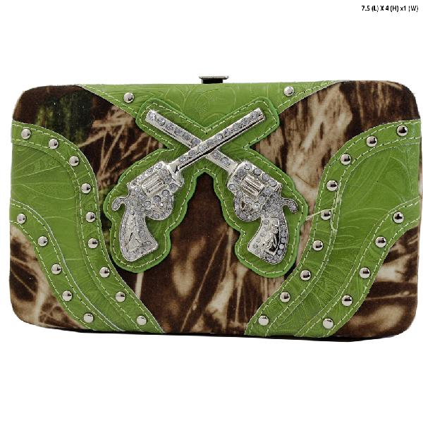 GNS-P305-GREEN - WESTERN RHINESTONE CROSS WALLETS
