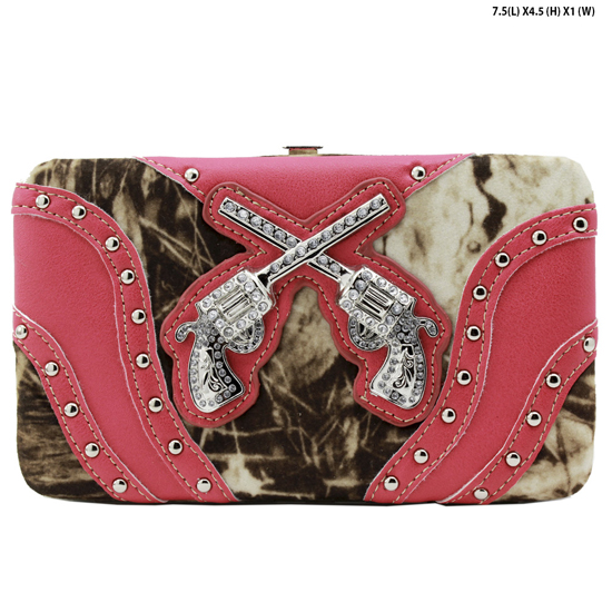 GNS-P305-PINK - WESTERN RHINESTONE CROSS WALLETS