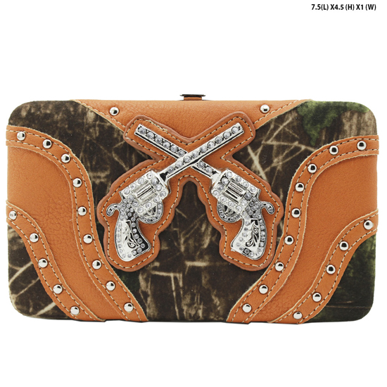 GNS-MLF-305--ORANGE - WHOLESALE WOMENS WESTERN CAMO DOUBLE PISTOL WALLET