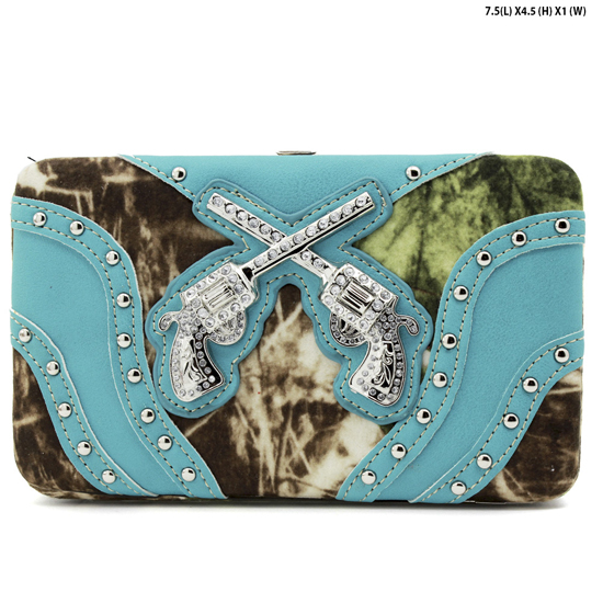 GNS-MLF-305--TURQ - WHOLESALE WOMENS WESTERN CAMO DOUBLE PISTOL WALLET